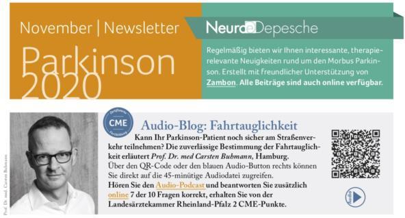 Hier ist ein Vorschaubild des Newsletter Parkinson November 2020 der Neuro-Depesche